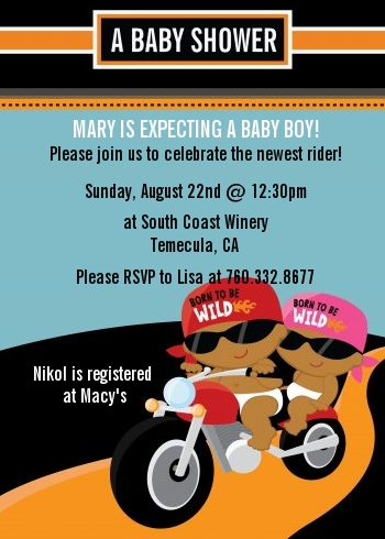 Motorcycle Baby - Baby Shower Invitations Caucasian