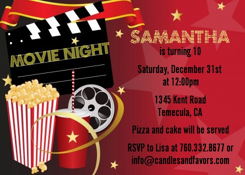 Movie Night Birthday Party Invitations Candles and Favors