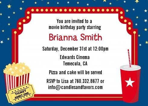 movie theater birthday party invitations candles and favors