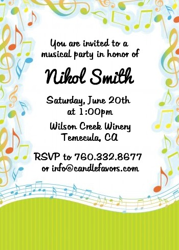 Musical Notes Colorful Birthday Party Invitations