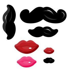 Little Man Mustache - Baby Shower Smooches & Mustaches Shaped Cut-outs