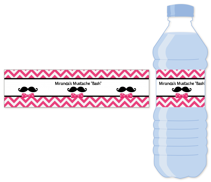 Mustache Bash - Personalized Birthday Party Water Bottle Labels Teal