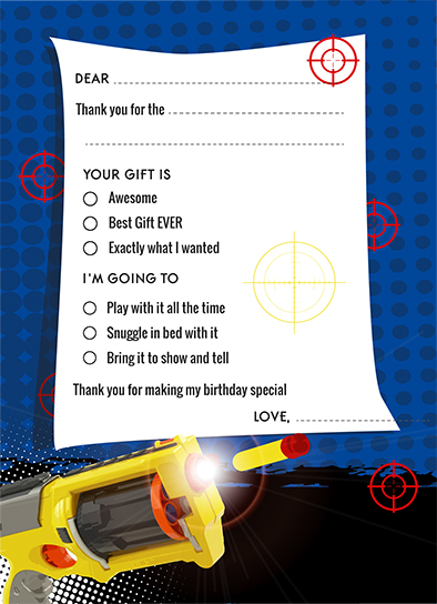 Nerf Gun Birthday Party Fill In Thank You Cards