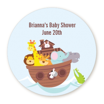 Noahu0027s Ark   Round Personalized Baby Shower Sticker Labels