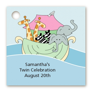 Noah's Ark Twins - Personalized Baby Shower Card Stock Favor Tags