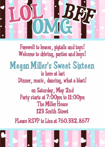 OMG LOL BFF Sweet 16 Birthday Party Invitations