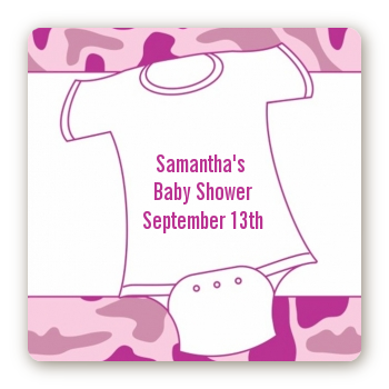 Baby Outfit Pink Camo - Square Personalized Baby Shower Sticker Labels