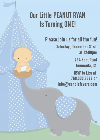 Our Little Boy Peanut's First - Birthday Party Invitations