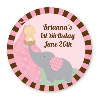 Our Little Girl Peanut's First - Round Personalized Birthday Party Sticker Labels