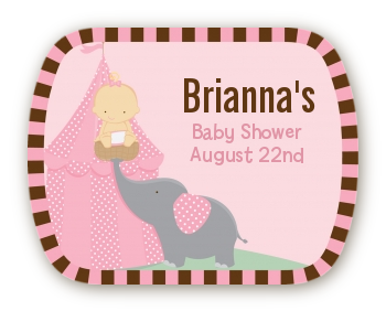 Our Little Peanut Girl - Personalized Baby Shower Rounded Corner Stickers