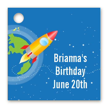 Rocket Ship - Personalized Birthday Party Card Stock Favor Tags