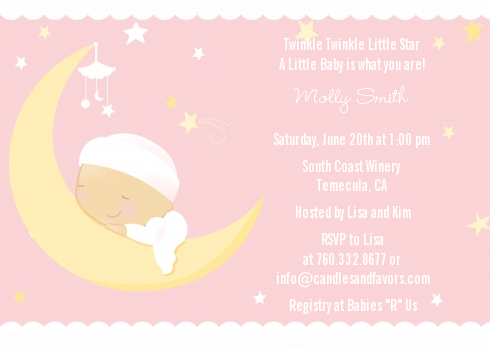 Over The Moon Girl Baby Shower Invitations | Candles and Favors