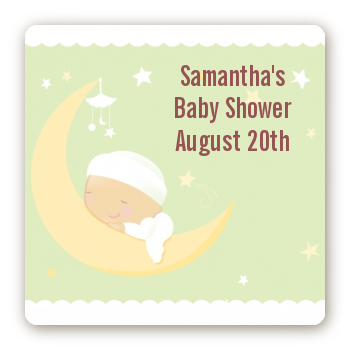 Over The Moon - Square Personalized Baby Shower Sticker Labels