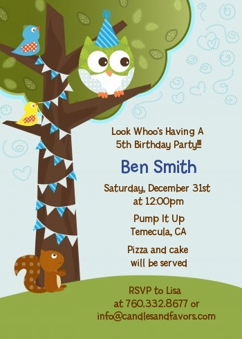 Owl Birthday Boy - Birthday Party Invitations