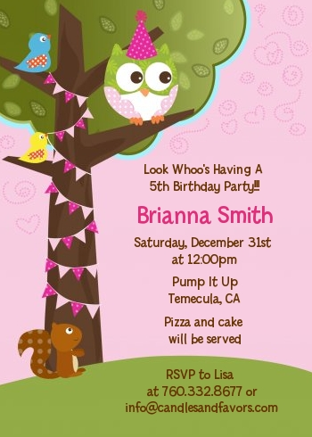 Owl Birthday Girl Birthday Party Invitations Candles and Favors