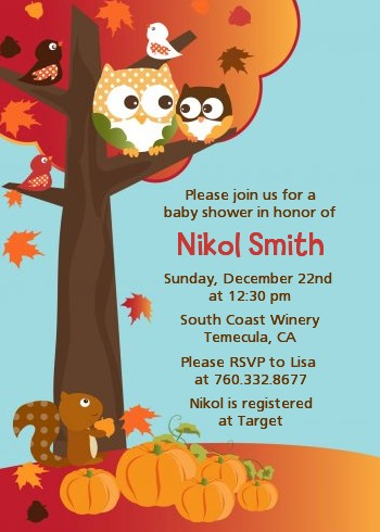 Owl Halloween Baby Shower invitations Autumn baby shower invitations