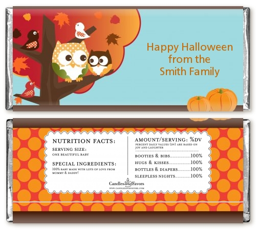 Owl - Fall Theme or Halloween Baby Shower Candy Bar Wrappers | Candles ...