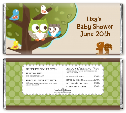 whooo 39 s having a baby personalized baby shower candy bar wrappers