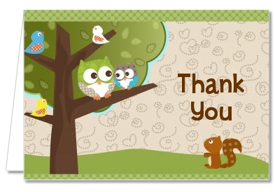 Owl - Look Whooo's Having A Baby - Baby Shower Thank You Cards