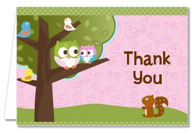 Owl - Look Whooo's Having A Girl - Baby Shower Thank You Cards