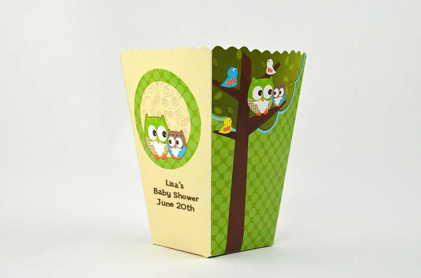 look whooo 39 s having a baby personalized baby shower popcorn boxes