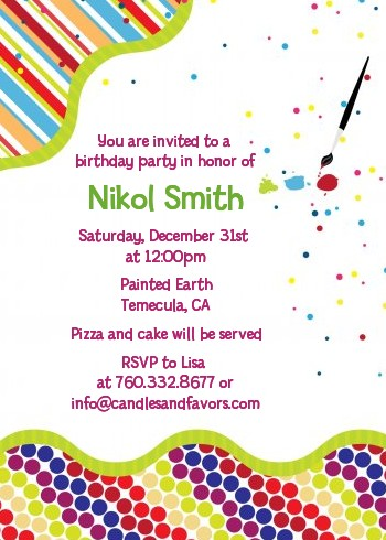 paint party birthday party invitations candles and favors