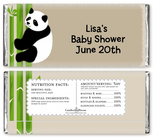panda baby shower candy bar wrappers candles favors