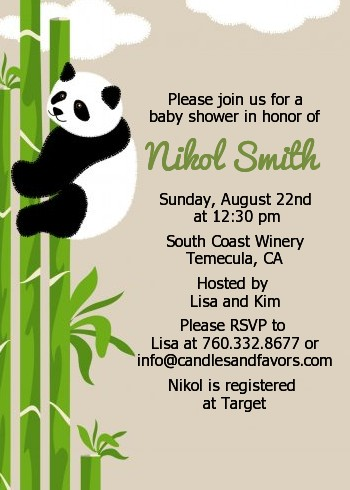 Panda Baby Shower Invitations Candles And Favors