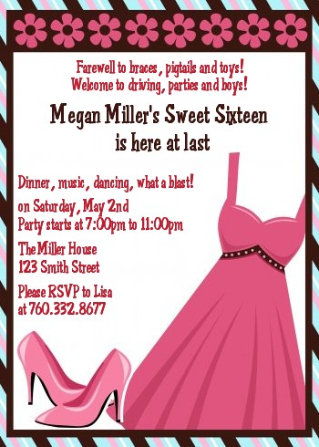 Party Dress Sweet 16 Birthday Party Invitations Candles And Favors