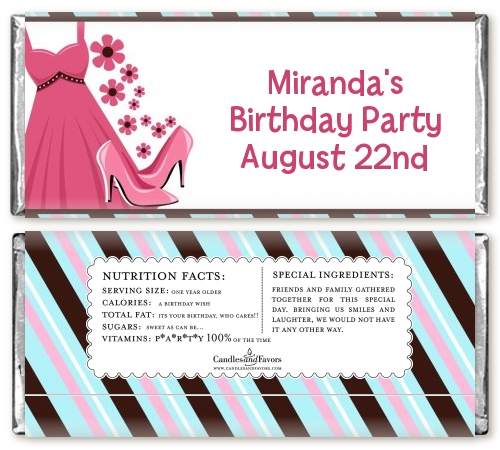 Party Dress | Sweet 16 Birthday Party Candy Bar Wrappers ...