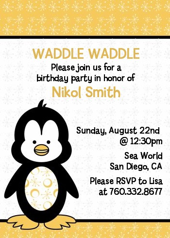 Penguin Birthday Party Invitations Candles And Favors