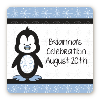 Penguin Blue - Square Personalized Baby Shower Sticker Labels