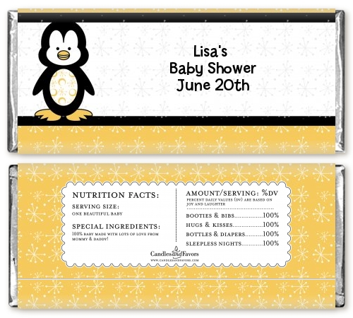 Penguin Baby Shower Candy Bar Wrappers | Candles & Favors