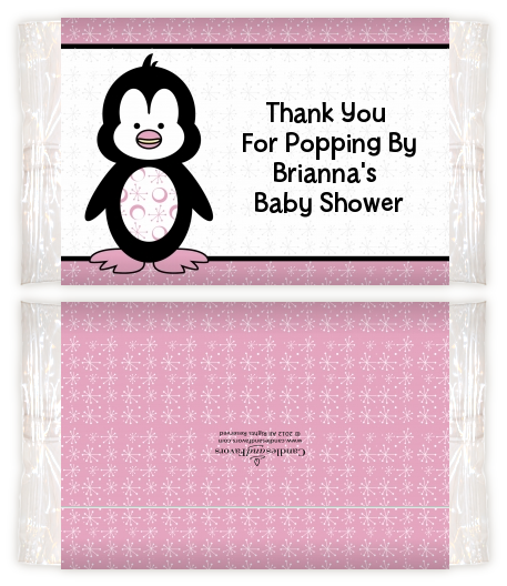 Penguin Pink Baby Shower Popcorn Wrappers Baby Shower Popcorn Wrappers