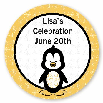 Penguin - Round Personalized Birthday Party Sticker Labels