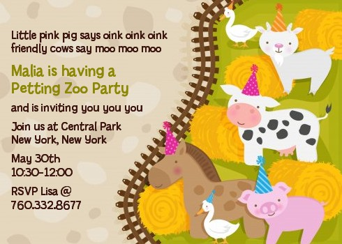 Petting zoo birthday party invitations candles and favors petting zoo birthday party invitations stopboris
