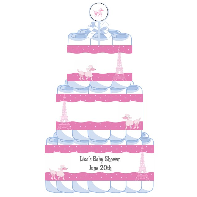 Paris Baby Shower Cake: 3 Tier Pink Poodle In Paris Baby Shower Diaper Cake