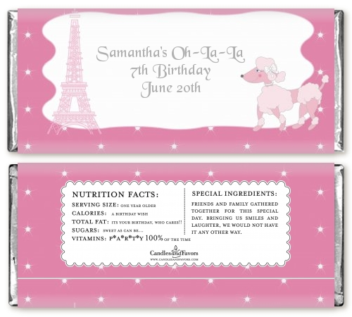 Pink Poodle In Paris Birthday Party Candy Bar Wrappers Candles