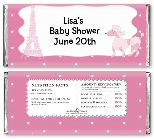 Pink Poodle In Paris   Personalized Baby Shower Candy Bar Wrappers