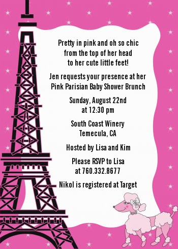 Pink Poodle In Paris   Baby Shower Invitations