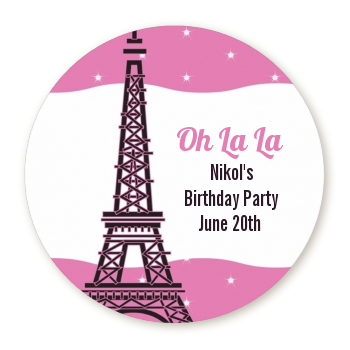 Pink Poodle in Paris - Round Personalized Birthday Party Sticker Labels