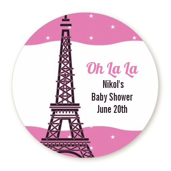 Pink Poodle in Paris - Round Personalized Baby Shower Sticker Labels