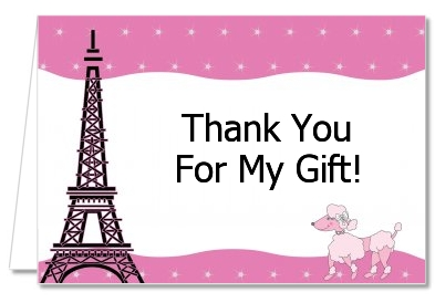 Pink Poodle In Paris   Baby Shower Thank You Cards