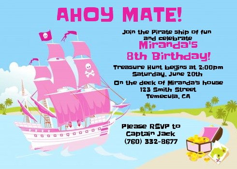 Pirate ship girl birthday party invitations candles and favors pirate ship girl birthday party invitations filmwisefo
