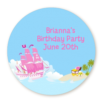 Pirate Ship Girl - Round Personalized Birthday Party Sticker Labels