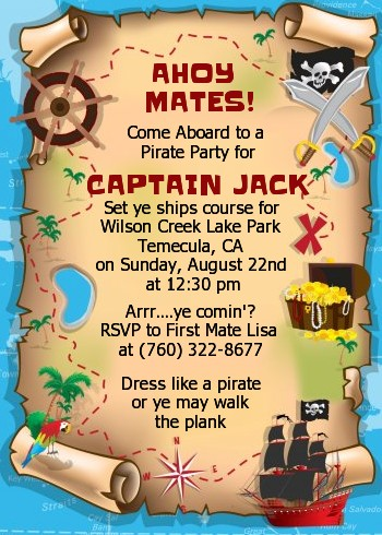 pirate treasure map birthday party invitations candles and favors