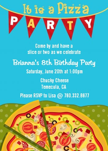 pizza party birthday party invitations | candles and favors, Party invitations