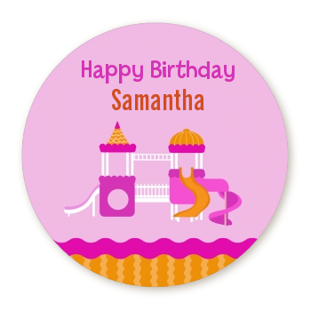 Playground Girl - Round Personalized Birthday Party Sticker Labels