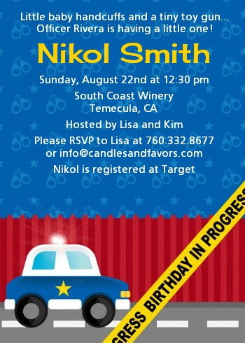 Police car baby shower invitations candles and favors police car baby shower invitations filmwisefo