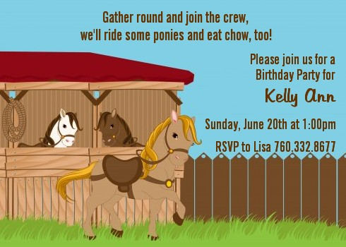 pony brown birthday party invitations | candles and favors, Party invitations